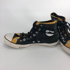 ⭐️ Black and Gold Layered High Top Converse Chucks